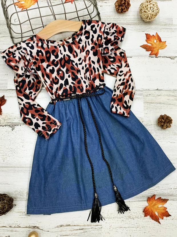 Girls Leopard Shoulder Ruffle Dress