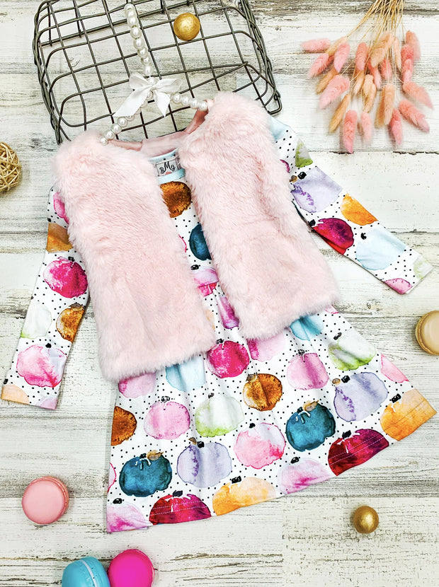 Girls Long Sleeve Pumpkin Dress and Fuzzy Vest Set