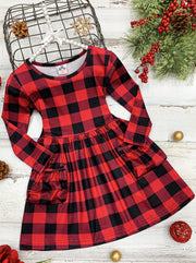 Girls Plaid Double Front Pocket Dress