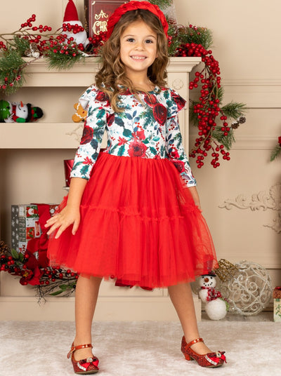Girls Long Sleeve Ruffled Shoulders Floral Tutu Dress flower print bodice Valentine Christmas 2T-10Y