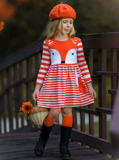 Girls Long Sleeve Striped Fox Dress orange and white