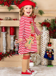 Girls Striped, Gingerbread Girl Applique, Socks and Purse Dress