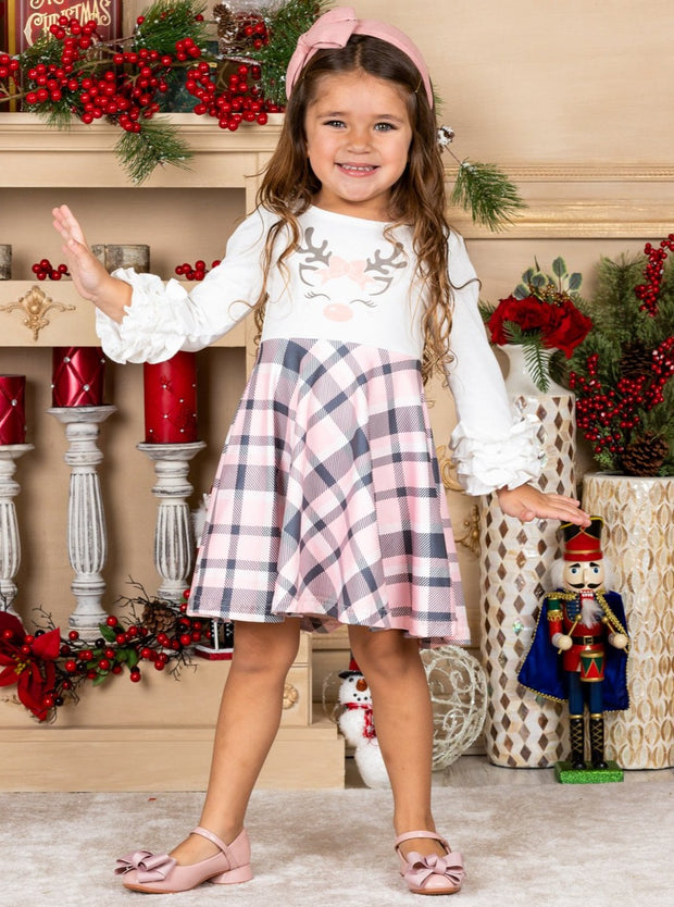 Girls Rudolph Ruffled Sleeve Plaid Dress