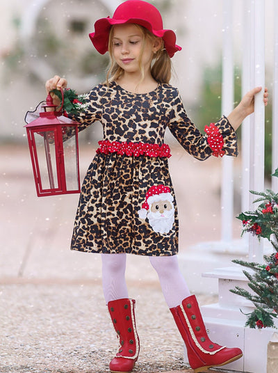 Leopard Print Santa Dress For Little Girls with red polka dot ruffles 2T-10Y