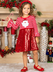 Girls Striped Santa Sequin Dress 2T-10Y