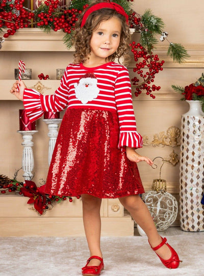 Girls Striped Santa Sequin Dress