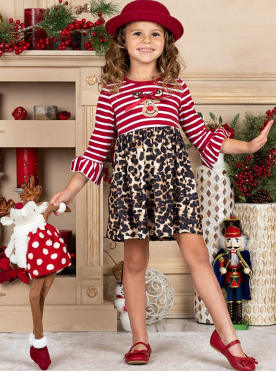 Girls Striped Rudolph Animal Print Dress 2T-10Y