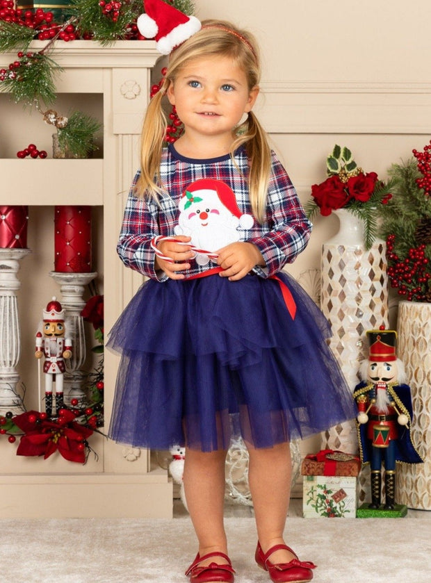 Girls Plaid Print Santa Tutu Dress