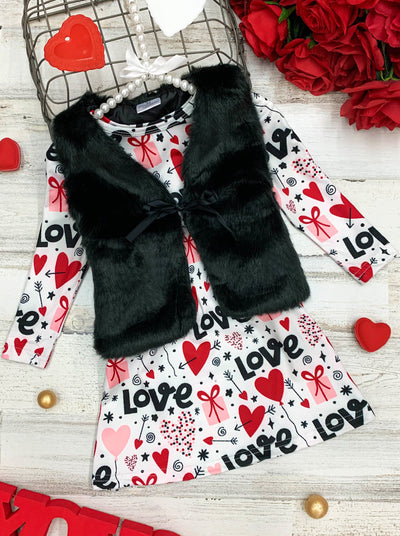 Girls Long Sleeve Valentine Dress and Fuzzy Vest Set 2T-10Y