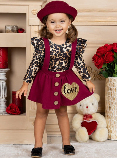 "Girls Leopard Ruffled Top and ""Love"" Burgundy Suspender Skirt Set 2T-7Y"