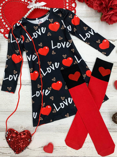 "Girls ""Love"" Print Dress, Purse and Socks Set 2T-10Y"
