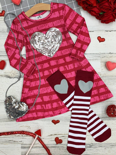 Girls Striped with Glitter Heart Print Dress, Purse and Socks Set 2T-10Y