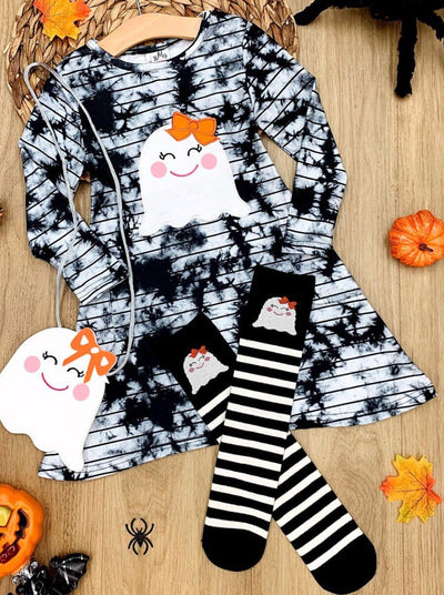 Girls Ghost Tie Dye Pocket Dress, Socks and Purse Set