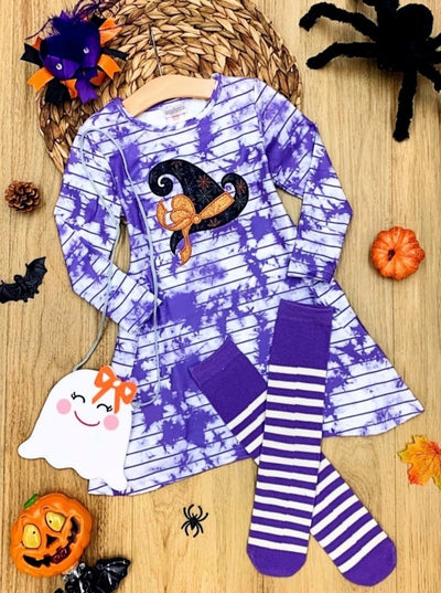 Girls Witch Hat Tie Dye Pocket Dress, Bow, Socks and Purse Set