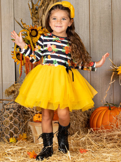 Girls Floral Striped Bow Tutu Dress