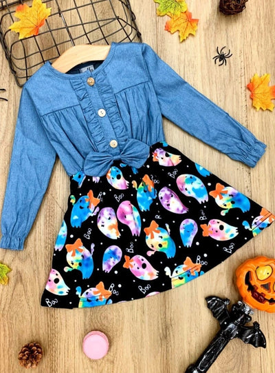 Girls Long Sleeve Denim Bodice, Tie Dye Ghost Print Skirt Dress
