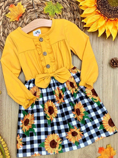 Girls Long Sleeve Plaid and Sunflower Print Dress