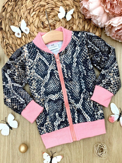 Girls Spring Fall Bomber jacket features a snake print, middle zipper and contrast pink binding  2T-10Y