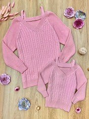 Mommy and Me Knitted V-Neck Sweater