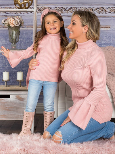 Mommy and Me Turtleneck Boho Sleeve Sweater