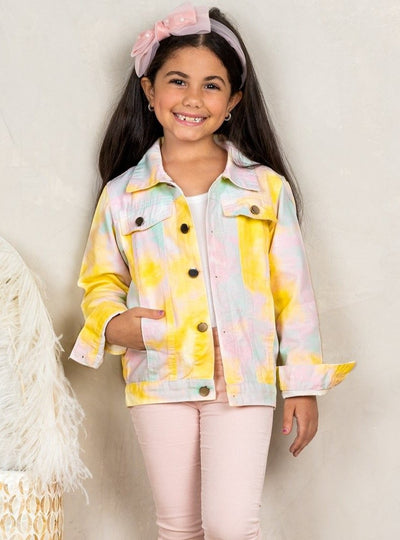Girls Pastel Tie Dye Denim Jacket