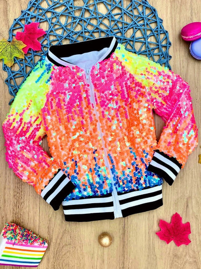 Girls Sequin Zippered Banded Jacket