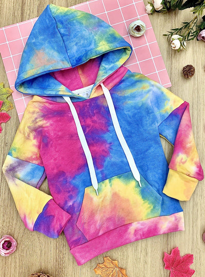 Girls Tie Dye Pocket Hoodie Sweater