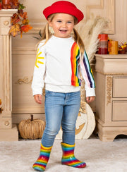 Girls sun rainbow sweater white