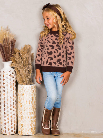 Girls Fuzzy Leopard Print Banded Sweater