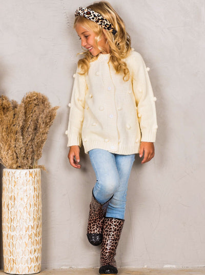 Girls Buttoned Pom Pom Accent Cardigan 2T