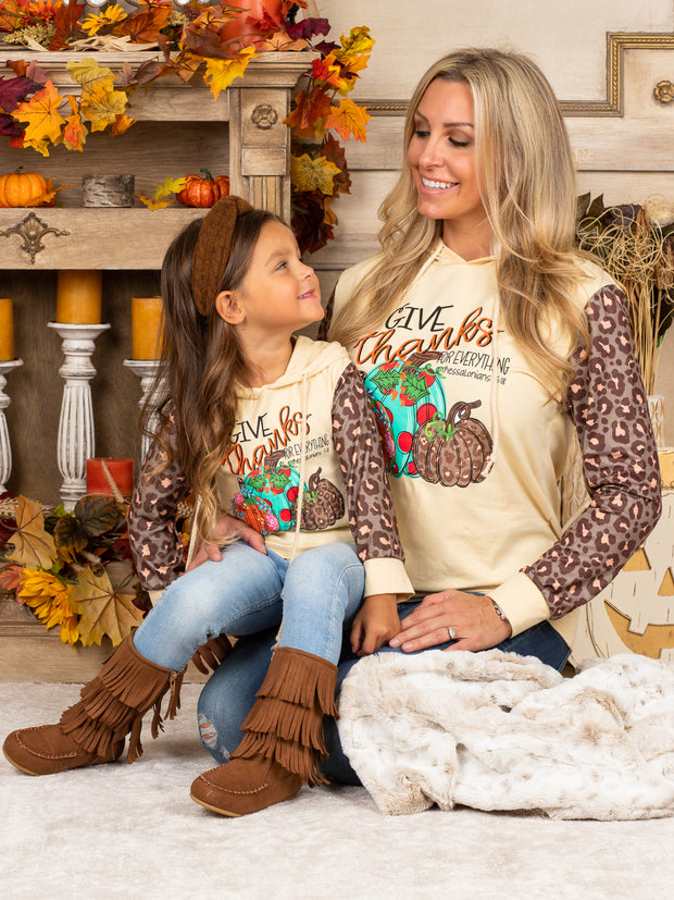 "Mommy and Me ""Give Thanks"" Pumpkin Leopard Sleeve Hoodie"
