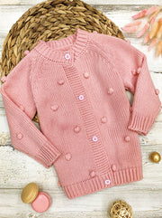 Girls Buttoned Pom Pom Accent Cardigan