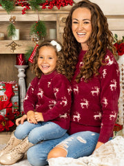 Mommy and Me Reindeer Print Sweater