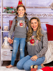 "Mommy and Me ""Joy"" Leopard Sleeve Hoodie"