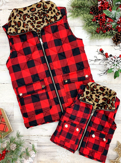 Mommy and Me Plaid Leopard Print Lined Pocket Vest 2T-10Y