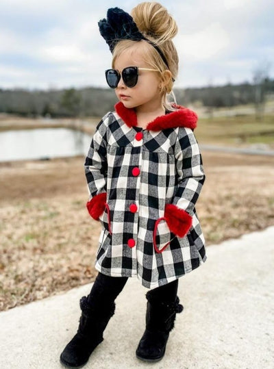 Girls Medium Long Plaid with Faux Fur Cuffs Coat 2t-10y