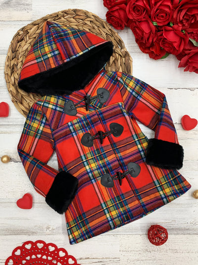 Girls Medium Long Buttoned Plaid with Faux Fur Cuffs Coat 2T-8Y
