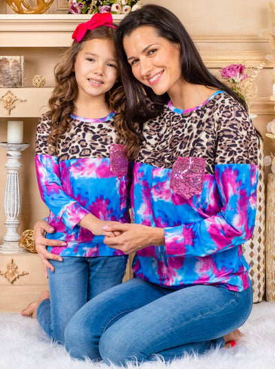 Mommy & Me Leopard and Tie Dye Long Sleeved Sweater 2T-XXL