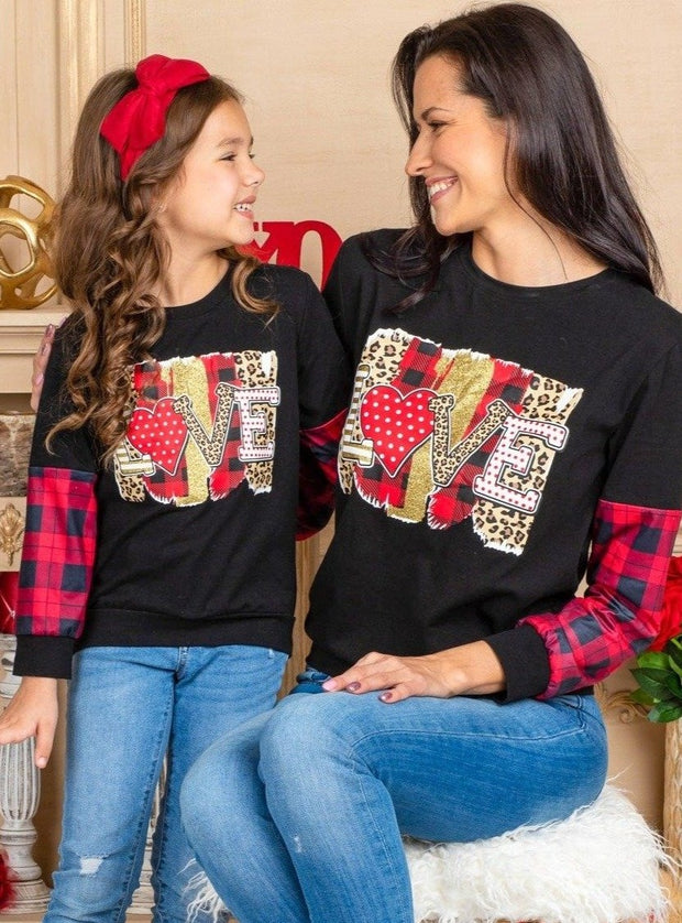 Mommy and Me Black and Plaid with Love Graphic Print Sweater black and plaid 2T-10Y and Mom S to XXL
