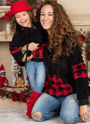 Mommy and Me Buffalo Plaid Hoodie Sweater