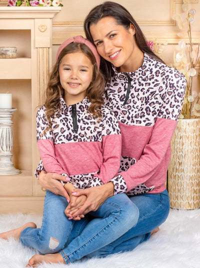 Mommy & Me Quarter Zip Animal Print Pullover Sweater leoaprd and link 2T-1oY mom s to XXL