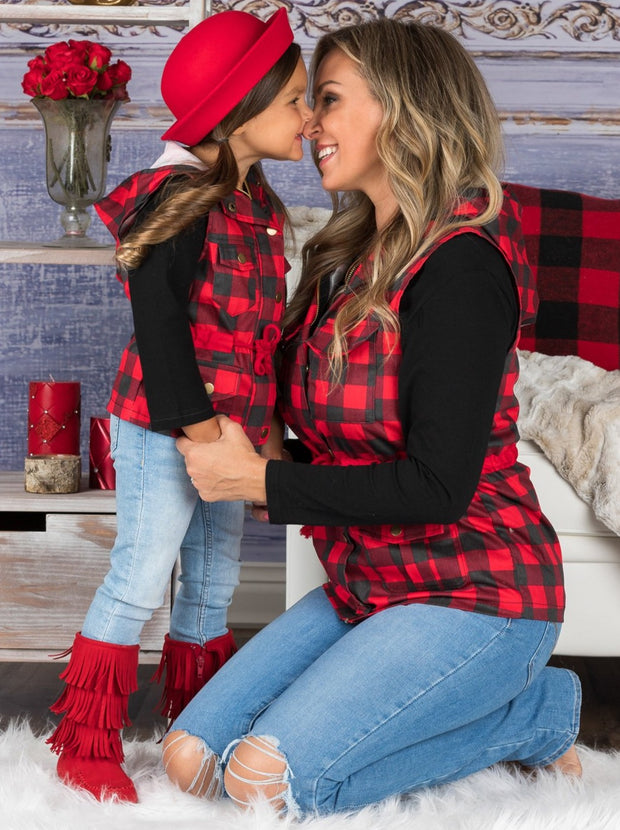 Mommy and Me Long Sleeve Top and Hooded Pocket red and black Vest Set