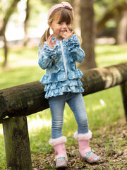 Girls Tie Dye Tiered Ruffled Hooded Cardigan
