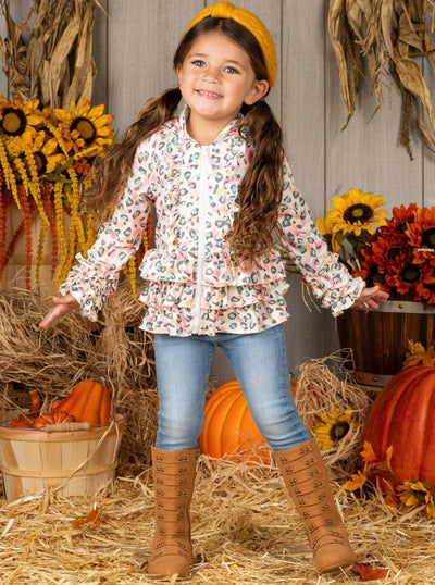 Girls Animal Print Tiered Ruffled Hooded Cardigan