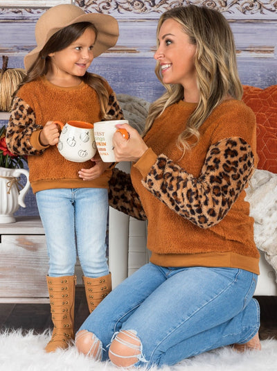 Mommy and Me Leopard Sleeve Plush Sweater