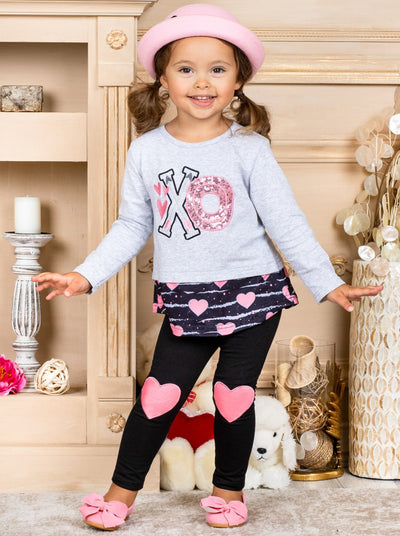 "Girls Long Sleeve ""XO"" Heart grey Top and Heart Knee Patch black Leggings Set Valentine 2T-10T"