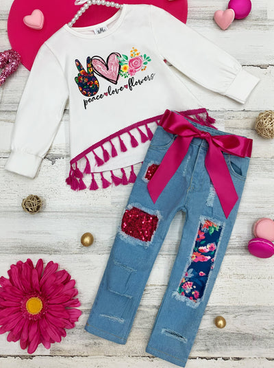 Girls Tassel Heart Top and Patched Jeans with Sash Set 2T-10Y