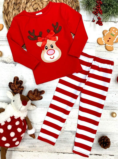 Girls Long Sleeved Top with Rudolph Applique and Striped Leggings Set
