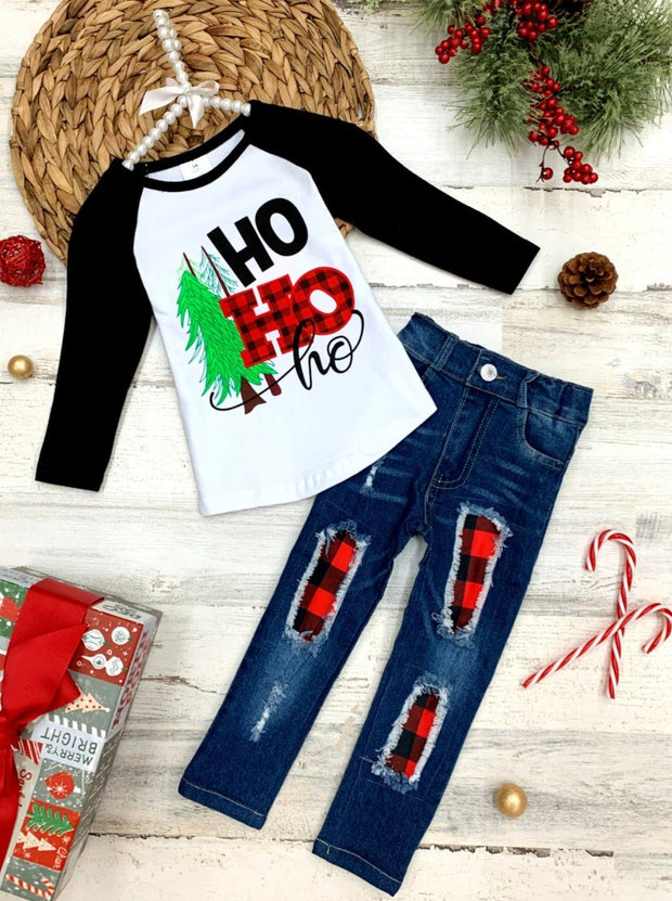 "Girls Long Sleeved ""HoHoHo"" Top and Patched Jeans Set"