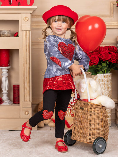 Girls Tie-Dye Glitter Heart Applique and Glitter Hem Top and Heart Knee Patch Leggings Set 2T-10Y Valentine